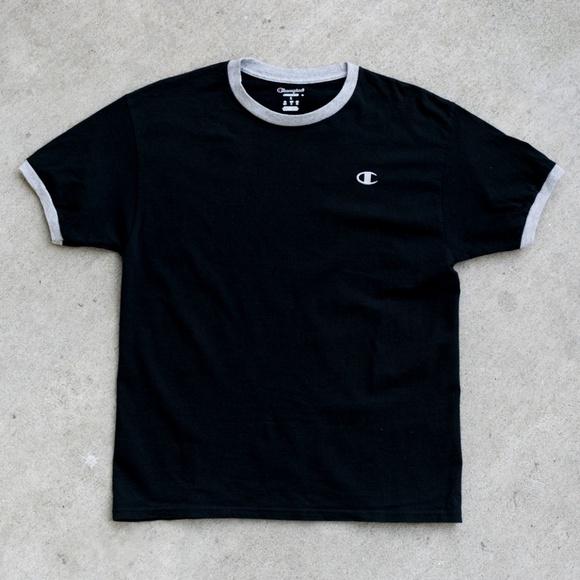 099b7d157 Champion Shirts | Black Grey Embroidered Ringer Tee | Poshmark